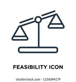 Feasibility icon vector isolated on white background, Feasibility transparent sign , thin symbols or lined elements in outline style