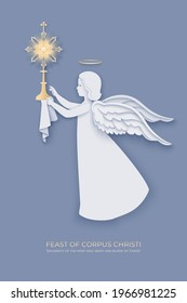 Feast of Corpus Christi background with paper cut layered angel holding a monstrance on a gray backdrop. Vector illustration