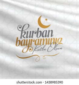 Feast of the Sacrif (Eid al-Adha Mubarak) Feast of the Sacrifice Greeting (Turkish: Kurban Bayraminiz Kutlu Olsun) Holy days of muslim community. Billboard, Poster, Social Media, Greeting Card templat