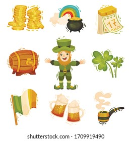Feast of Saint Patrick Symbols and Attributes with Leprechaun and Trefoil Vector Set