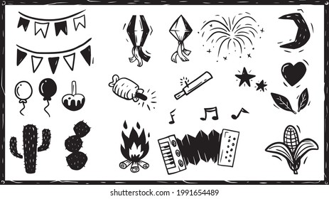 Feast of St. John in Woodcut Style. Bonfire Balloon and typical elements and foods from the Northeast of Brazil.