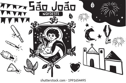 Feast of St. John in Woodcut Style. Bonfire Balloon and typical foods from the Northeast of Brazil.