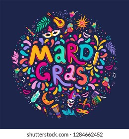 Feast vector hand drawn Mardi Gras text Lettering. Festive badge, logo. Masquerade Party poster greeting card, invitation. Celebration decorate in round shape. Flashes of firework, colorful confetti.