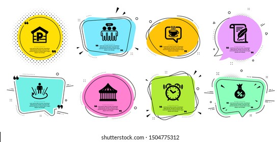 Feather, Augmented reality and Employees group line icons set. Chat bubbles with quotes. Loan, Coffee and Alarm clock signs. Carousels, Parking symbols. Copyright page, Virtual reality. Vector