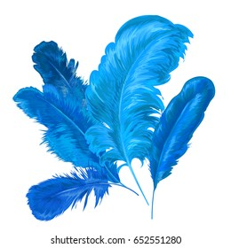 Feather background. Abstract Composition with Decorative Bird Feathers. Vector illustration
