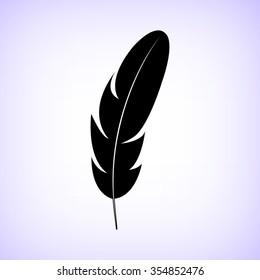 Feather  - black vector icon