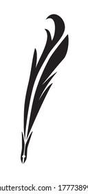 Feather calligraphic pen black vector