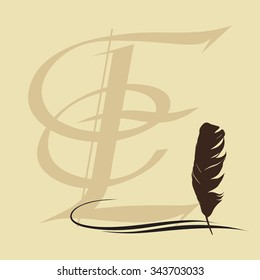 Feather calligraphic pen vector background with letter E