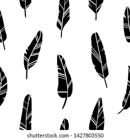 feather collection. Endless pattern with feathers silhouettes