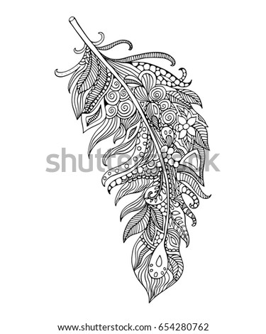 Feather Coloring Page Handdrawing Feather Stock Vector (Royalty Free ...