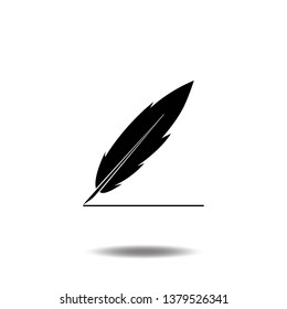 Feather drawing line icon vector quill writing flat sign symbols logo line pictogram illustration isolated on white background black color.Concept object design education.