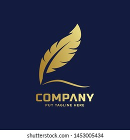 feather gold luxury logo template for business
