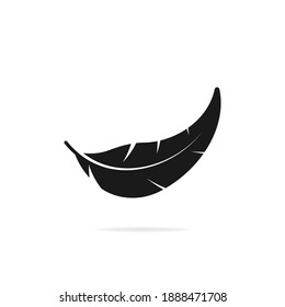 Feather icon flat style isolated on white background. Vector illustration