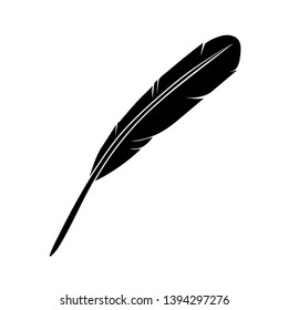 Feather icon on background for graphic and web design. Simple vector sign.