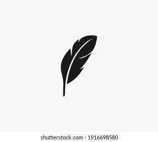 Feather icon on white background. Vector illustration.