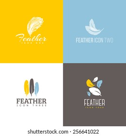 Feather icon. Set of logo design vector templates