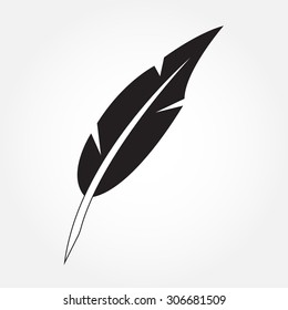 Feather icon or sign. Bird feather isolated on white background. Vector illustration.