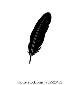 Feather icon. Simple black silhouette on white background. Vector illustration.