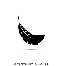 Feather icon, vector simple silhouette sign isolated on white.