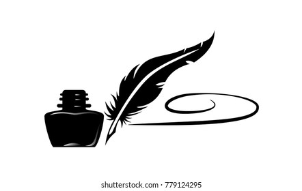 Feather Ink Bottle with Writing Vector design
