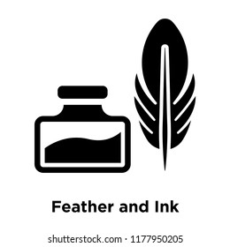 Feather and Ink icon vector isolated on white background, logo concept of Feather and Ink sign on transparent background, filled black symbol