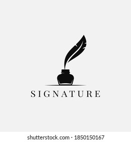 Feather with ink. Inkwell and feather logo on white background