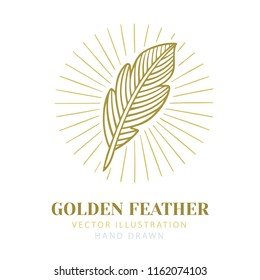 Feather. Isolated feather with rays.  Golden feather with glow. Creative authors concept.