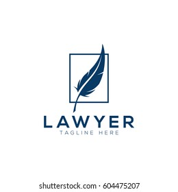 Feather law logo template