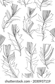 Feather line art black and white vertical pattern