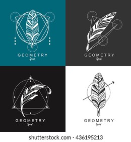 feather logo design with geometric background. law logo.Vector illustration