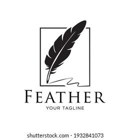 Feather Logo Design Vector Illustration.