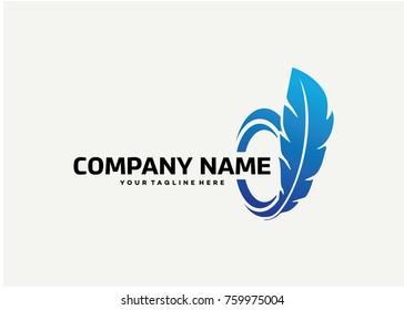 Feather Logo Template Design. Creative Vector Emblem for Icon or Design Concept