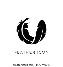 Feather logo vector icon in soft line bird quill symbol