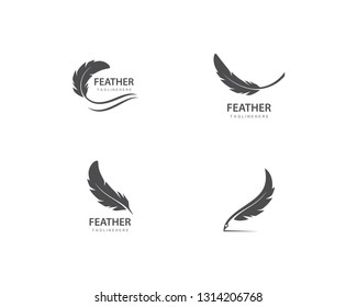 feather logo vector template