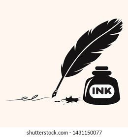 feather old pen silhouette vector illustration with ink bottle and draw line