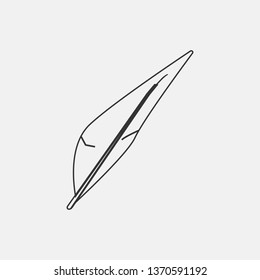 Feather outline vector icon