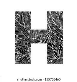 Feather pattern letter H