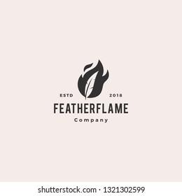 feather pen fire flame logo hipster vintage retro vector icon