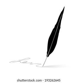 Feather pen icon signature