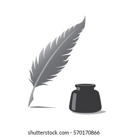 Feather pen and inkwell. Drawing of ancient stationery on white background in doodle style. Concept for education.