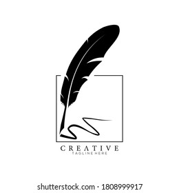 feather pen logo silhouette with square line frame vector design template