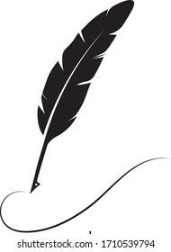 feather pen logo stock illustration design
