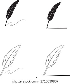 feather pen logo stock illustration design