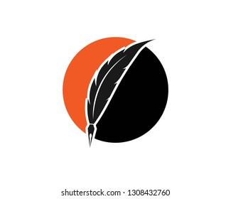 Feather pen logo template vector illustration - Vector