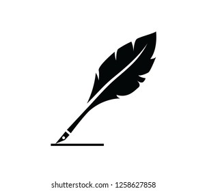 feather pen quill icon vector