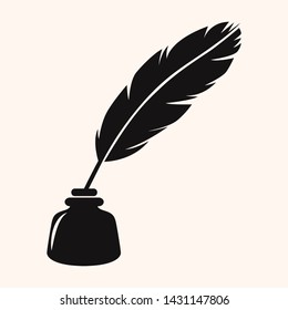 feather pen silhouette vector illustration, quill symbol with ink bottle