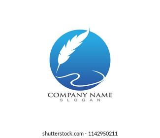 Feather pen write Logo template Vector