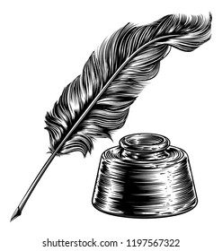 A feather quill ink writing pen and inkwell in a vintage retro woodcut or woodblock line art drawing style
