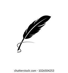 Feather quill pen icon, classic stationery illustration.
