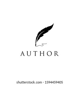 Feather quill pen icon logo design  classic stationery illustration.
